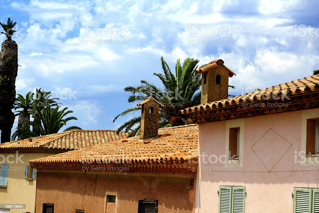 Tiled roofs in French South stock photo