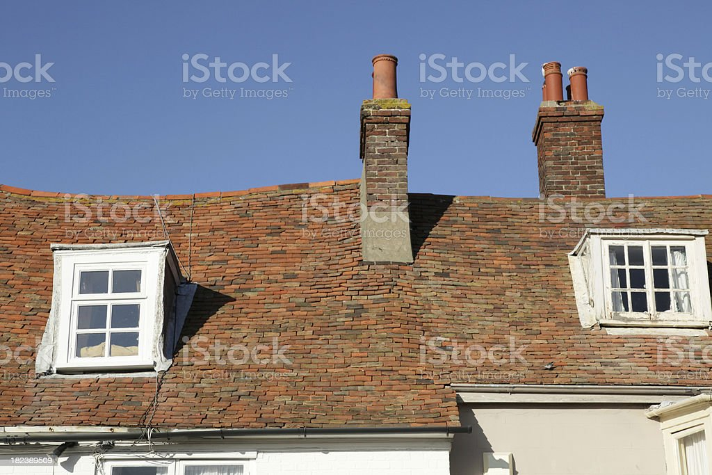 Tiled roofs on buildings in Rye, East Sussex, England, UK royalty-free stock photo