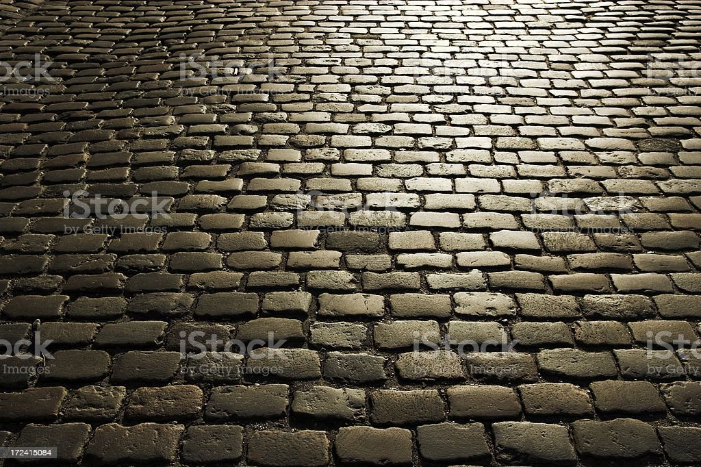 Tiled sidewalk in the early morning royalty-free stock photo