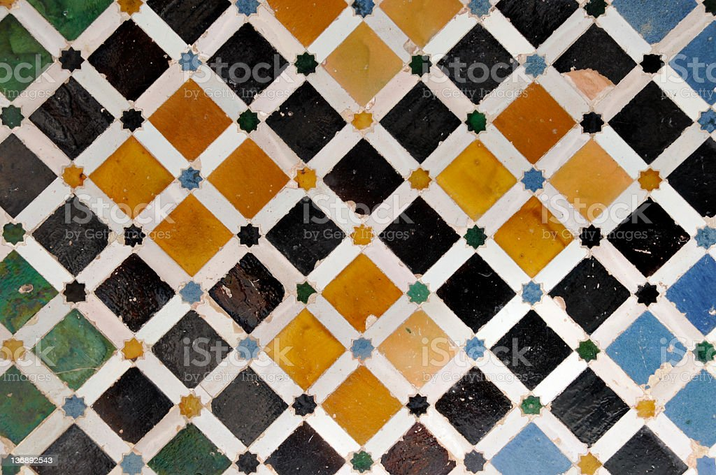 Tiled wall in Nasrid Palace,Alhambra,Granada,Andalucia,Spain royalty-free stock photo