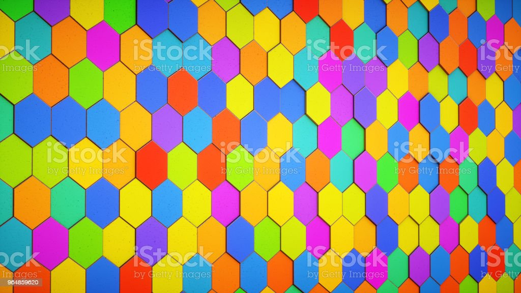 Tiled wall made of colorful hexagons side view royalty-free stock photo