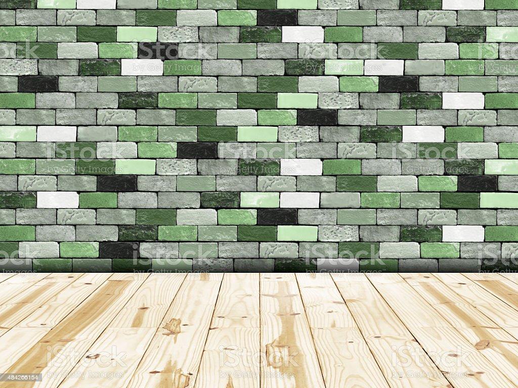 Verde con mattoni muro di piastrelle e pavimenti in legno
