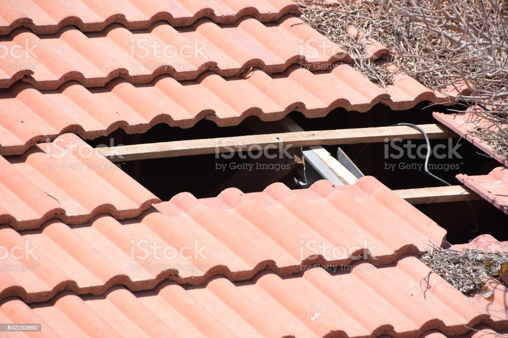 tiles are missing On the roof stock photo
