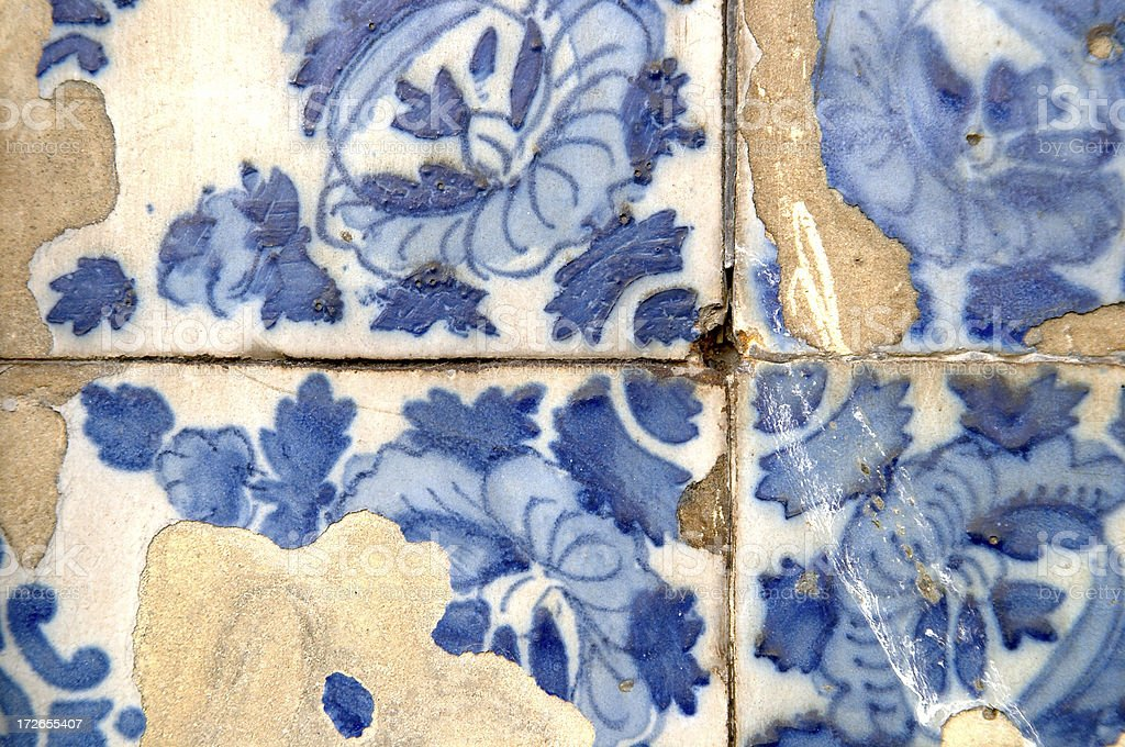 Tiles  Hand Painted and Ancient royalty-free stock photo