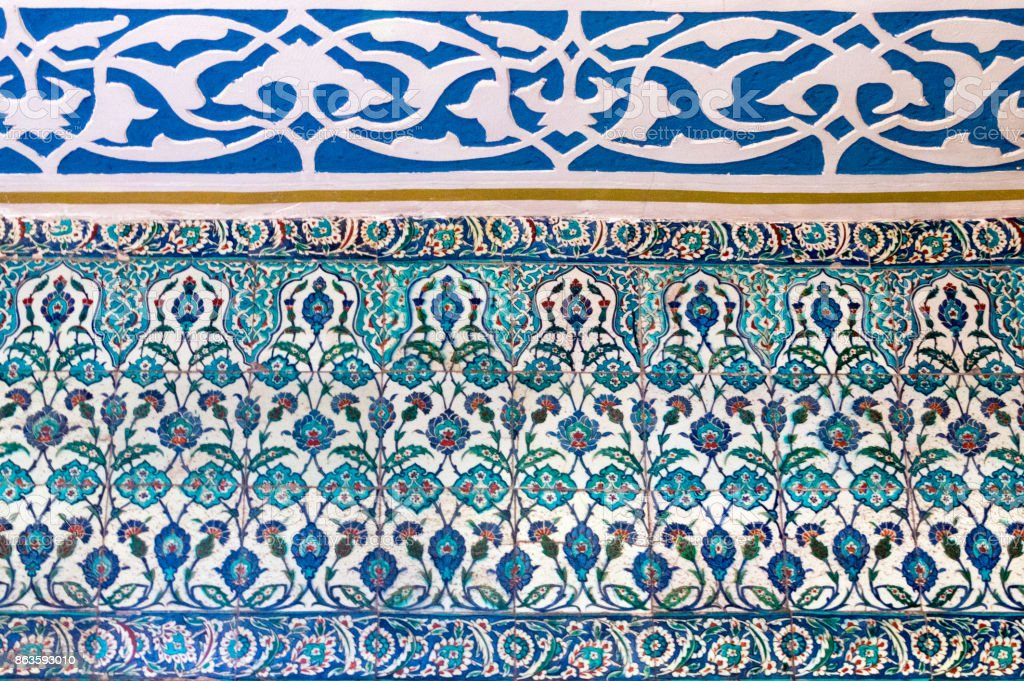 Tiles in the Blue Mosque in Istanbul, Turkey stock photo