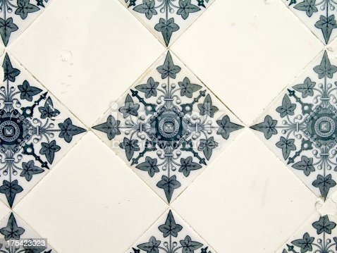 beautiful tiles on a wall in a very old house in hamburg. formerly  a butcher's shop.