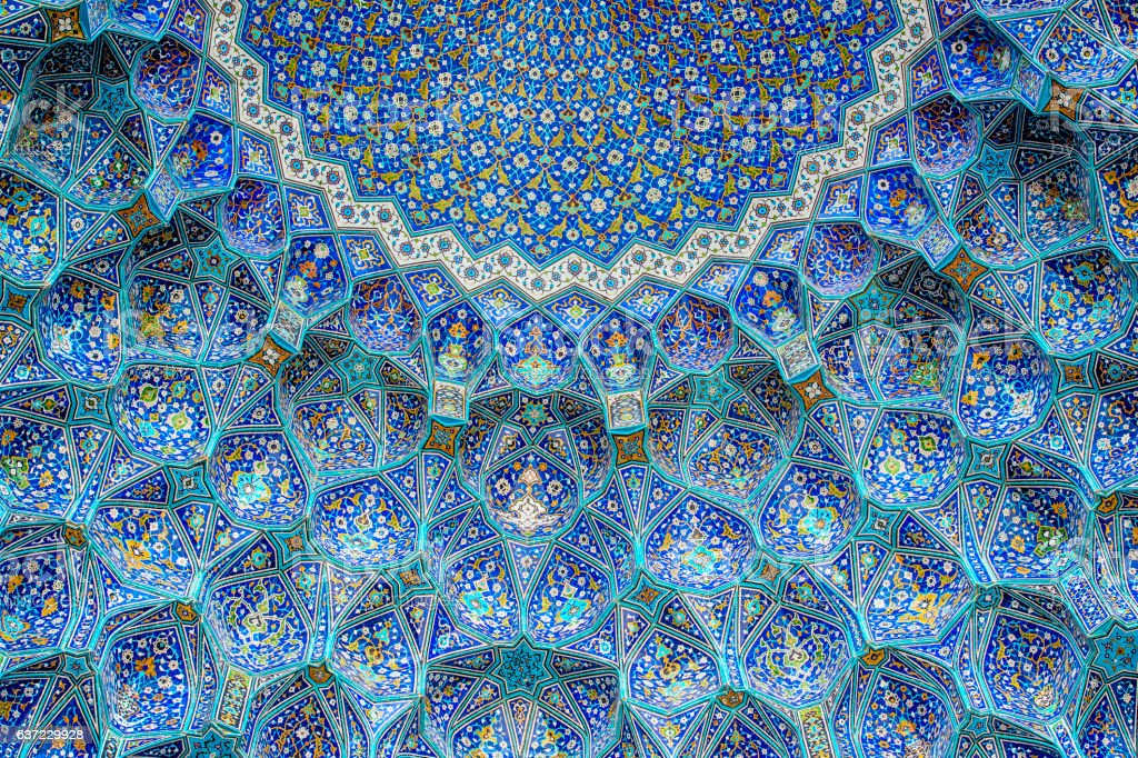 Tilework at Shah Mosque on Imam Square, Isfahan, Iran stock photo