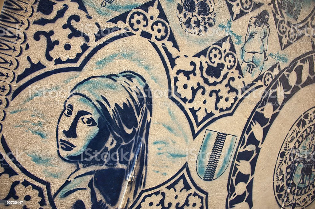 Tilework on a Wall in Delft stock photo