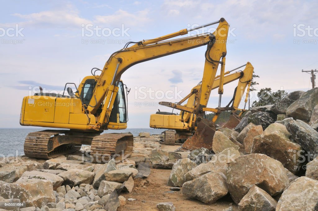 Tilghman Island RipRap Backhoes stock photo