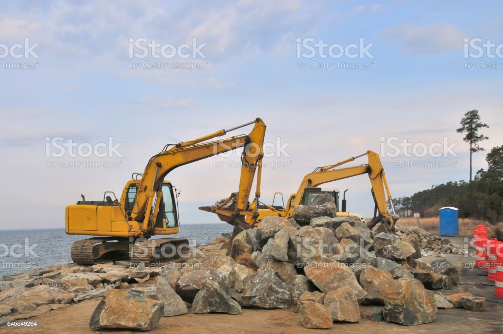 Tilghman Island RipRap Construction Site stock photo