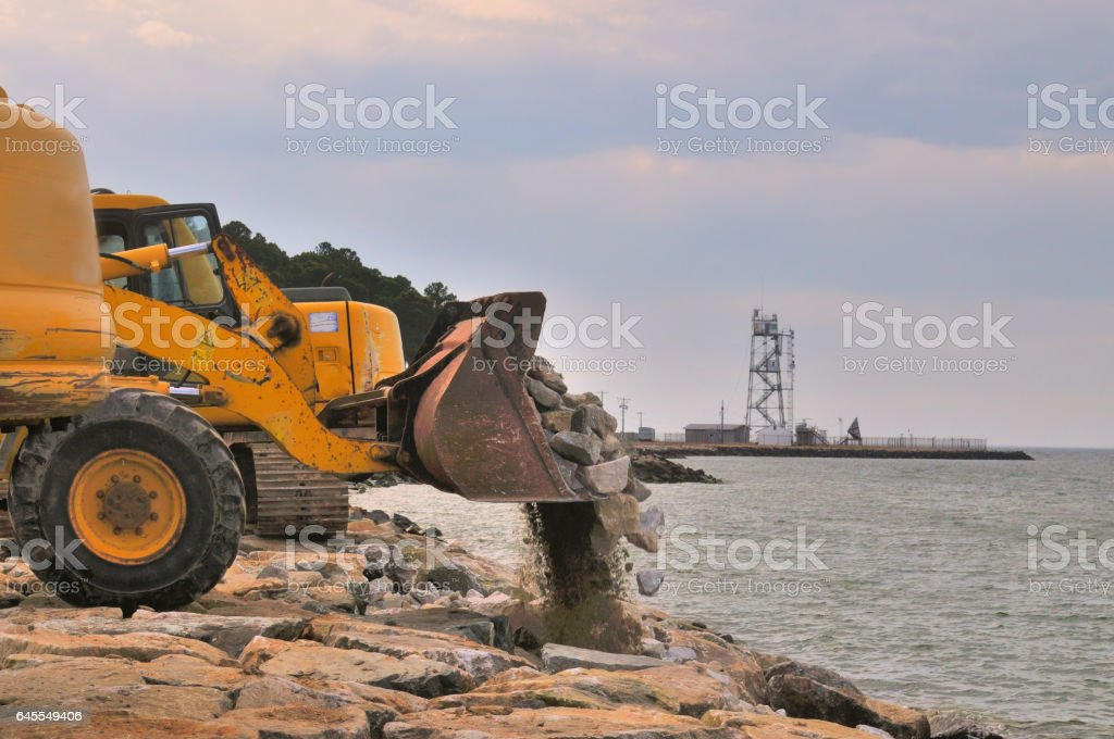 Tilghman Island RipRap Front Loader stock photo