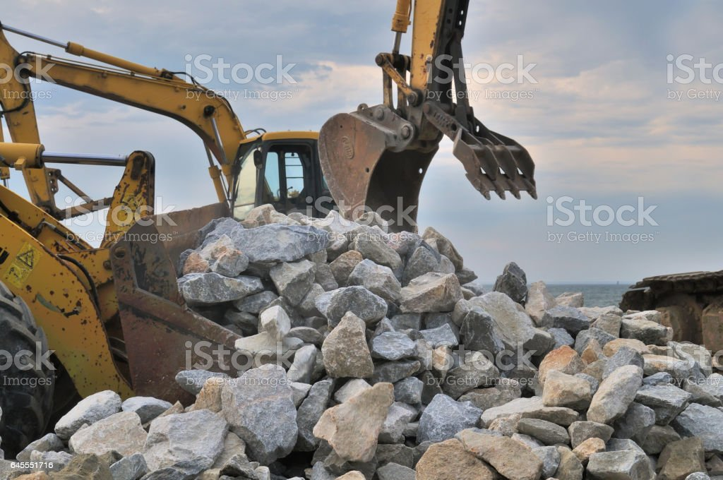 Tilghman Island RipRap Rock Pile and Equipemnt stock photo