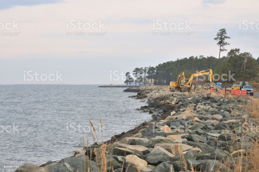 Tilghman Island RipRap Shoreline stock photo