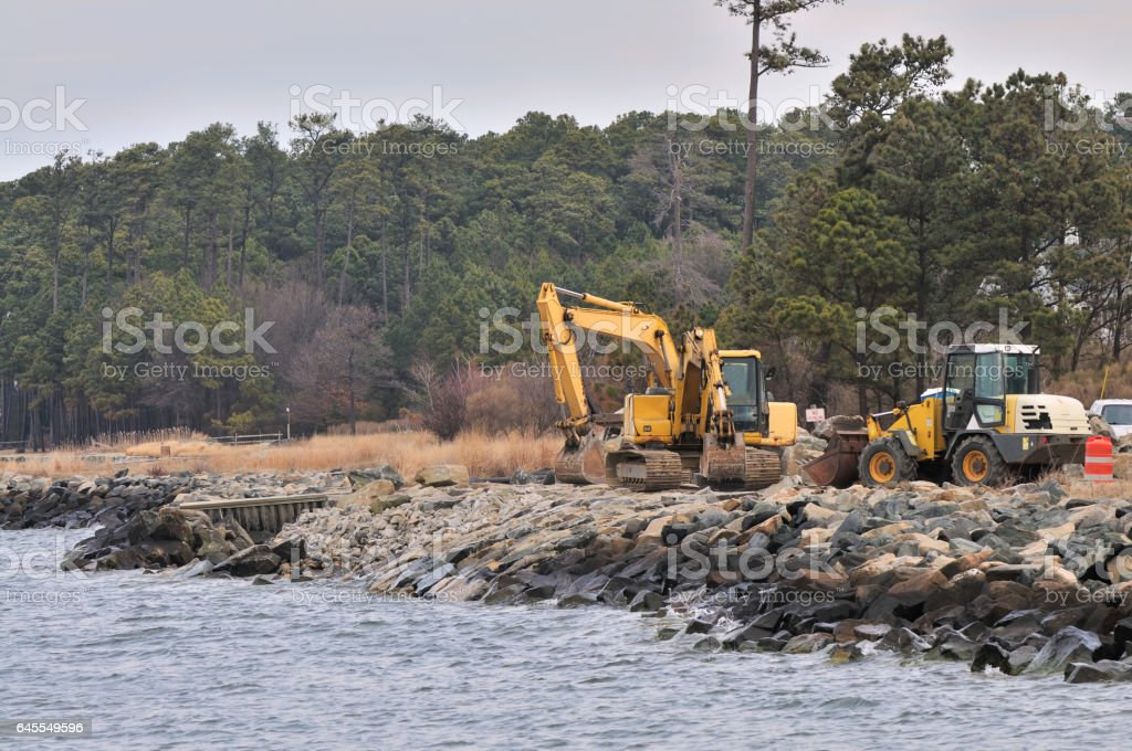 Tilghman Island RipRap Shoreline Rebuild stock photo