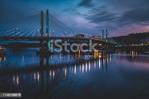 Moody and dramatic blue hour sky over the Tilikum Crossing Bridge in Portland Oregon