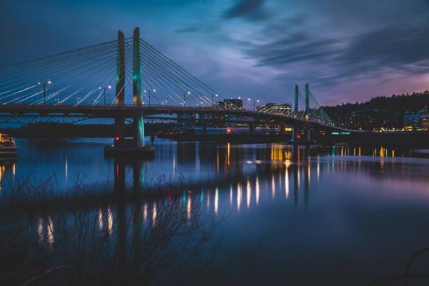 Tilikum Crossing Bridge in Portland Oregon at blue hour stock photo