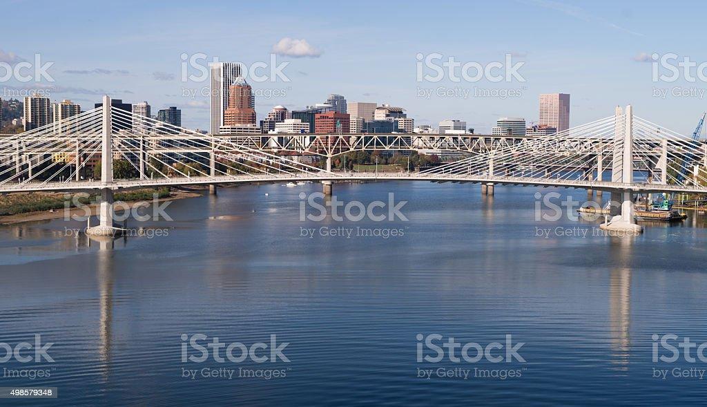 Tilikum Crossing Portland Oregon New Bridge Construction Willamette River stock photo
