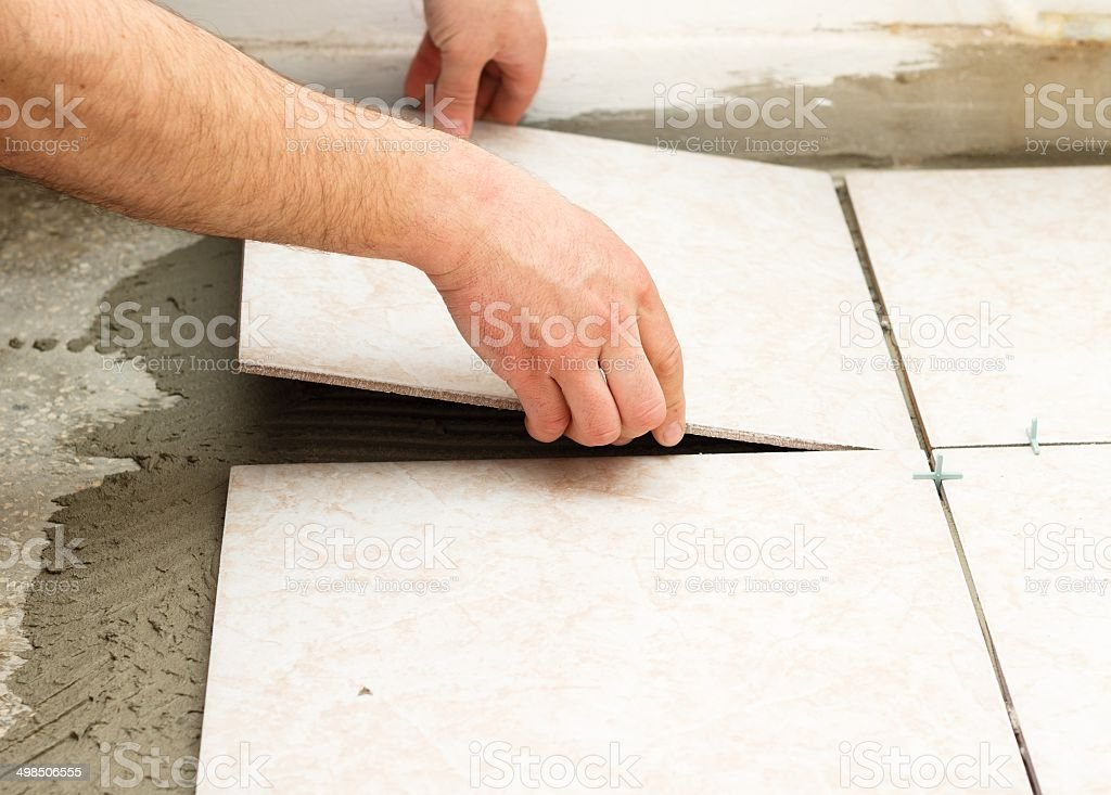Tiling Works stock photo