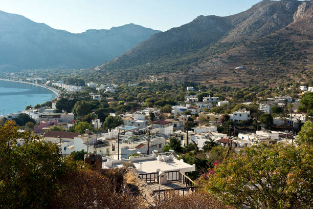 Tilos island - Livadi village on a summer morning,  Aegean sea, Dodecanese Islands, Greece stock photo