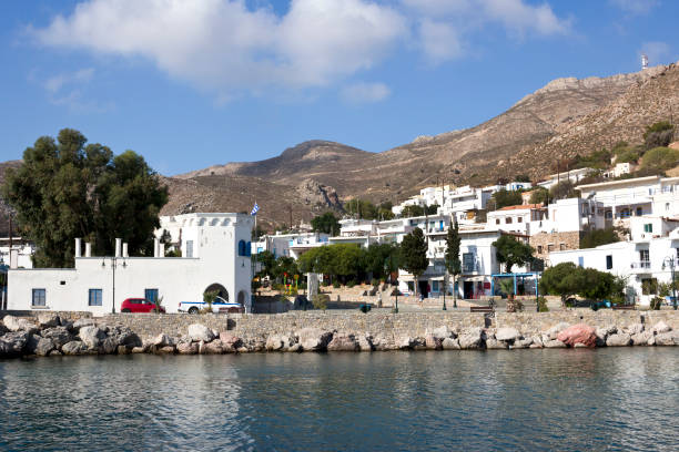 Tilos island -  - panoramic view of Livadi village,  Aegean sea, Dodecanese Islands, Greece stock photo