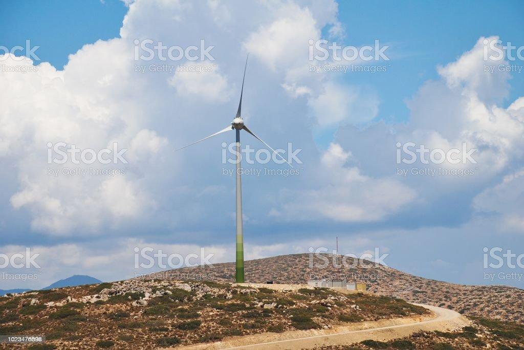 Tilos island wind turbine stock photo