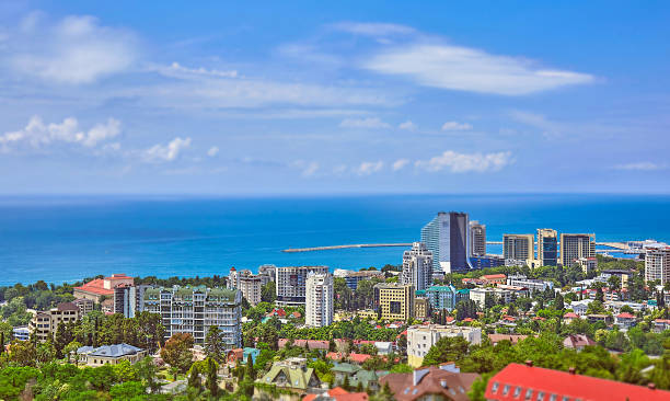 tilt and shift view of blue coast of black sea - クラスノダール市 ストックフォトと画像
