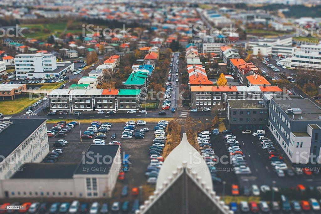Tilt shift aerial view of Reykjavik stock photo