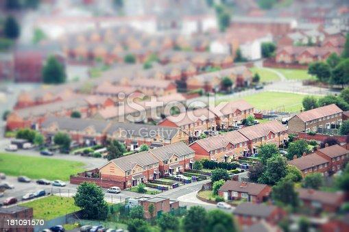 istock Tilt Shift Aerial View of Urban Housing 181091570