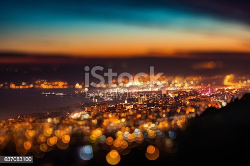 istock Tilt shift blur effect. Night aerial view panorama of Varna 637083100