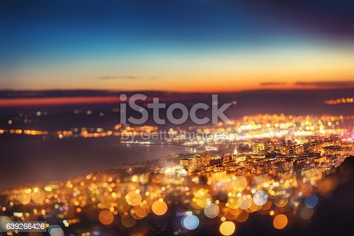 istock Tilt shift blur effect. Night aerial view panorama, Varna Town 639266426