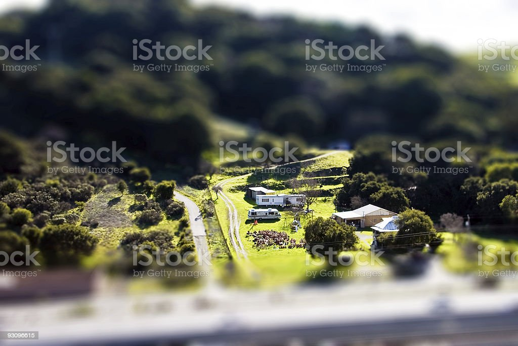 Tilt Shift Country Home royalty-free stock photo