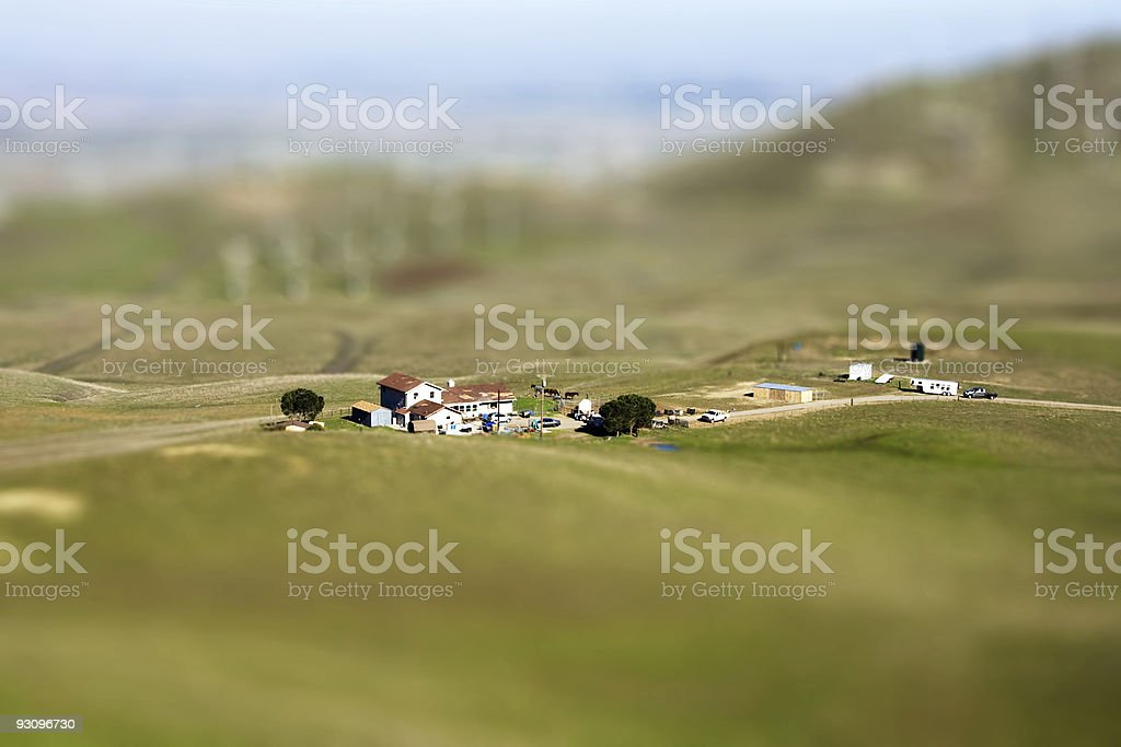 Tilt Shift Farm in the Country stock photo