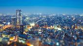 ティルト シフト 写真のように東京の建築照明