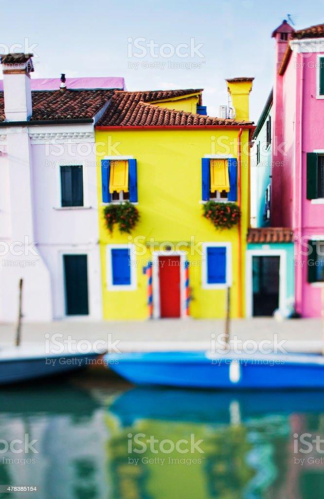 Tilt shift photo of Burano island near Venice stock photo