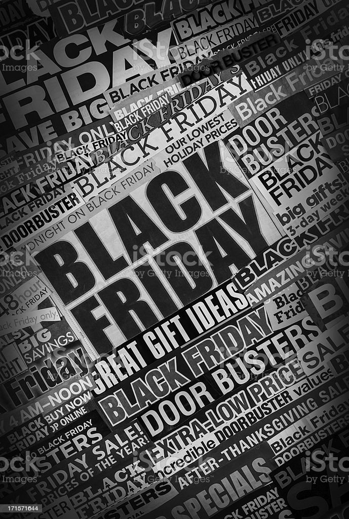 tilted black friday newspaper collage stock photo