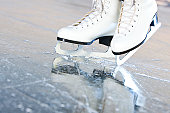 Tilted natural version, ice skates with reflection