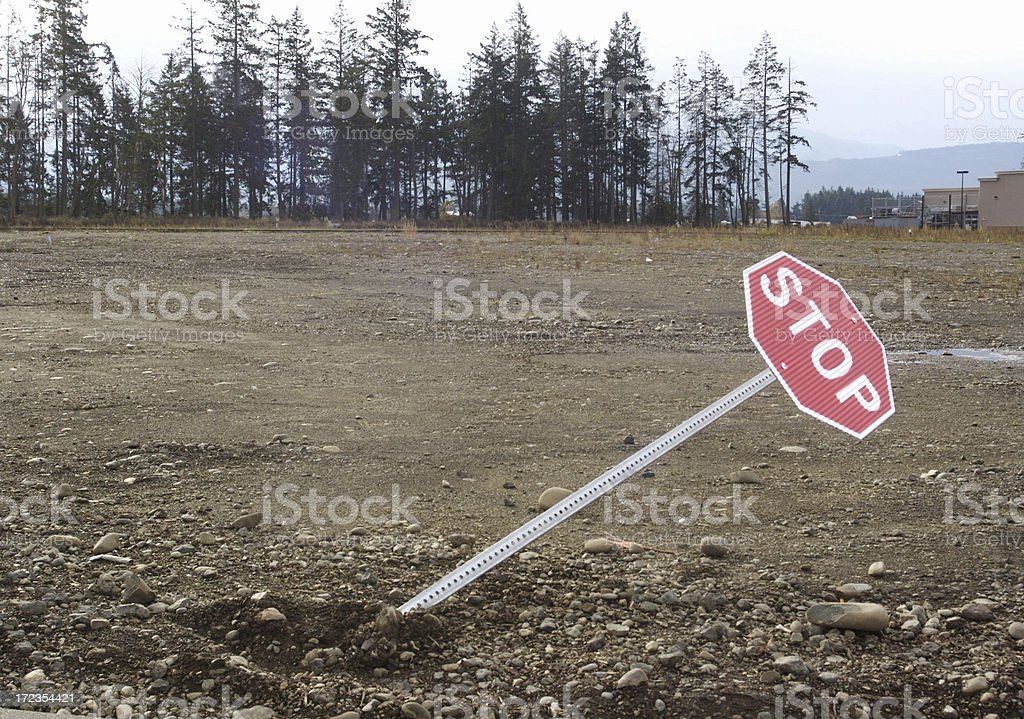 Tilted Stop Sign royalty-free stock photo