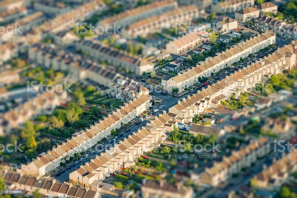 Tilt-shift view of residential streets from above stock photo