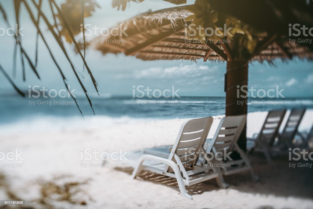Tiltshift view of resort beach with recliners, palm leaves, seascape stock photo