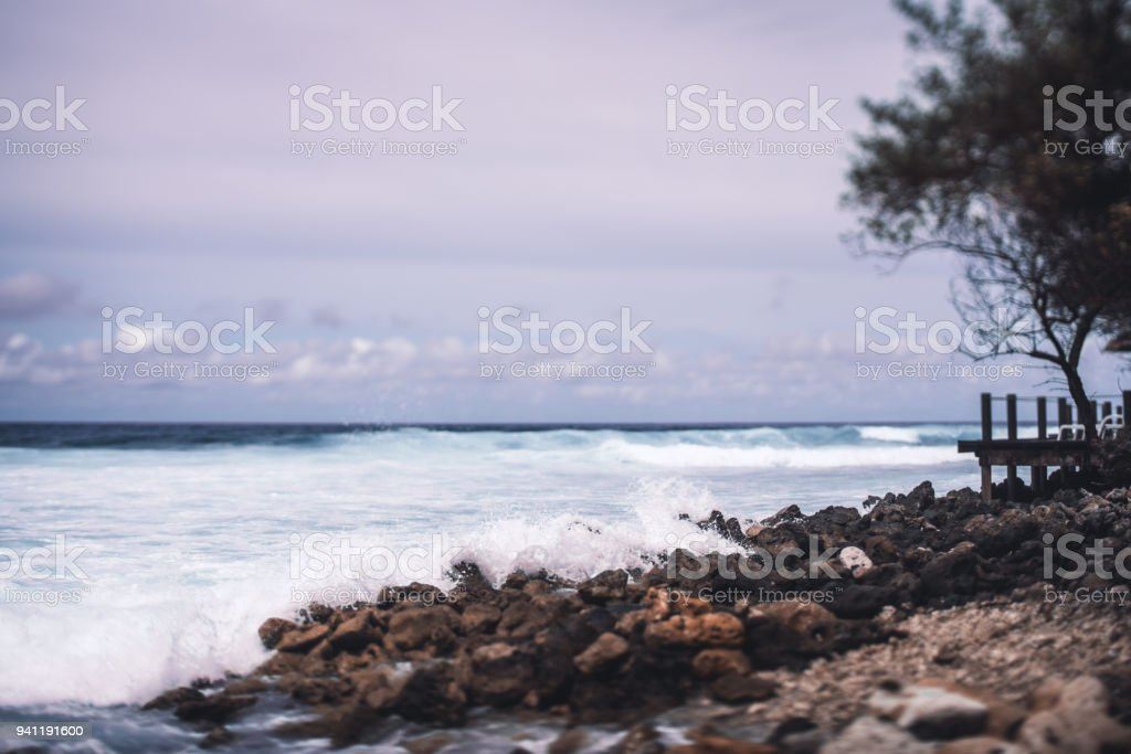 Tiltshift view of resort stony coastline stock photo