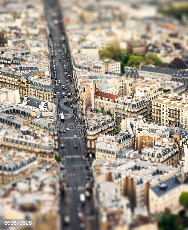 A high angle view over the Montparnasse district of central Paris, with a tilt/shift image technique used.