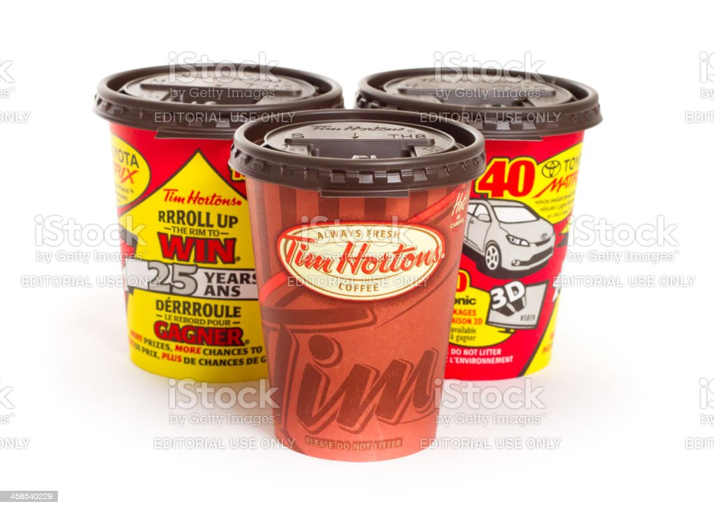 Tim Hortons Take-out Coffee Cups royalty-free stock photo