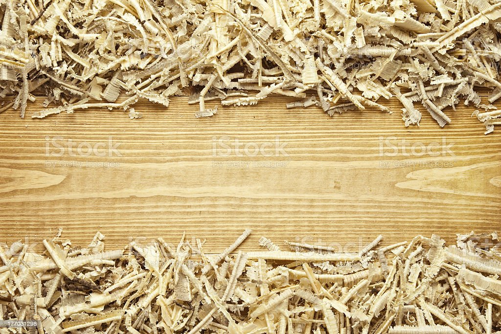 Timber and wood chips background with space for your text stock photo