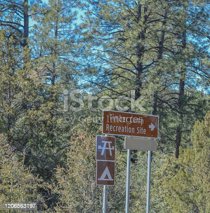 Timber Camp Recreational Site Sign. Camping and Picnicking allowed. Globe, Tonto National Forest, Arizona USA