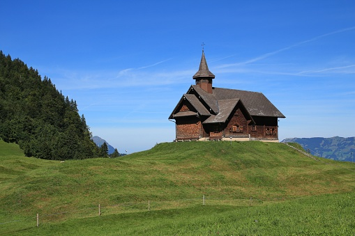 Timber chapel in Stoos, Switzerland.