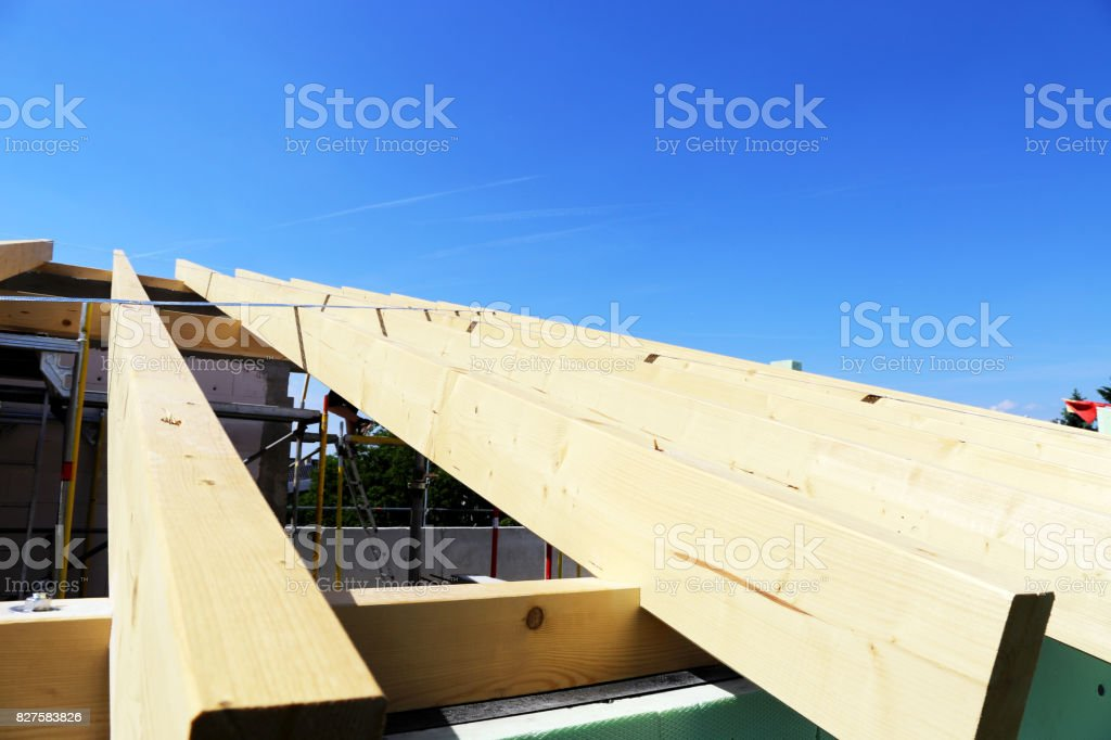 Timber construction, roof construction stock photo