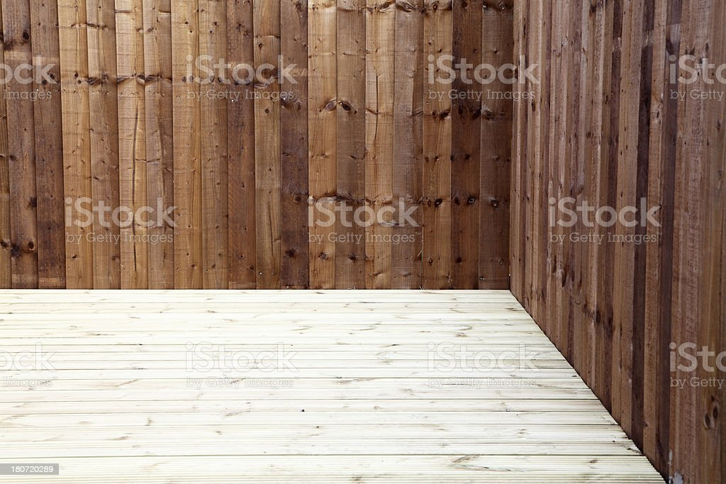 timber decking and fence royalty-free stock photo