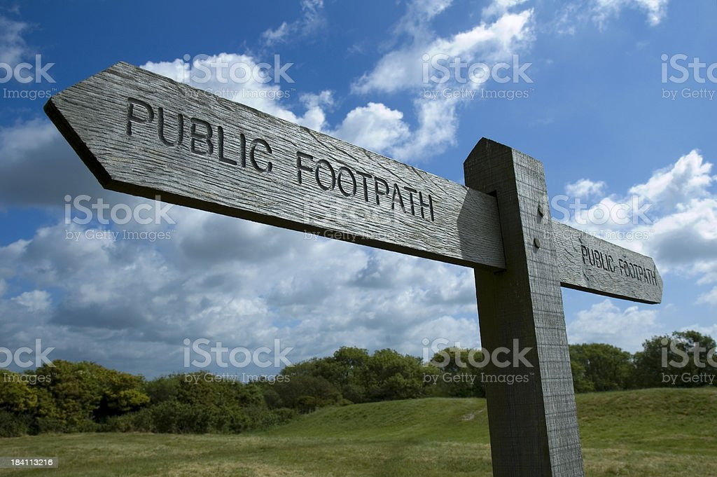 Timber Footpath Sign in Rural Location royalty-free stock photo