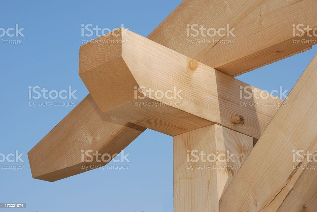 Timber frame construction for a house stock photo