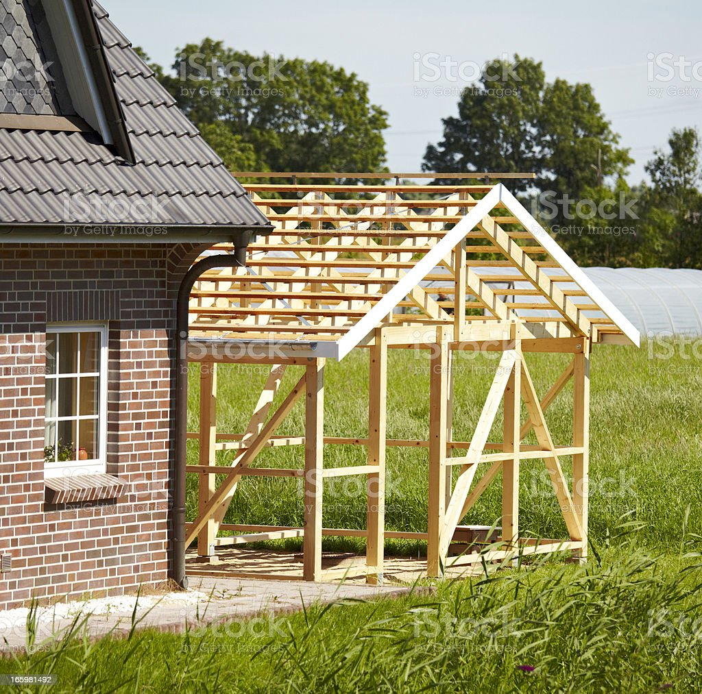 timber frame construction royalty-free stock photo